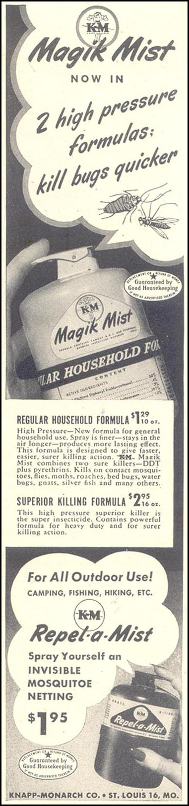 MAGIK MIST INSECTICIDE GOOD HOUSEKEEPING 07/01/1948 p. 227