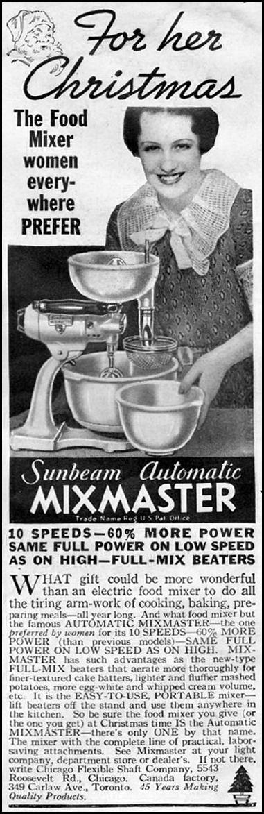 SUNBEAM MIXMASTER AUTOMATIC MIXER GOOD HOUSEKEEPING 12/01/1935 p. 189