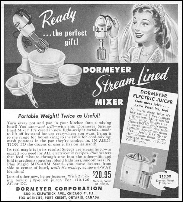 DORMEYER STREAM LINED MIXER WOMAN'S DAY 06/01/1946 p. 64