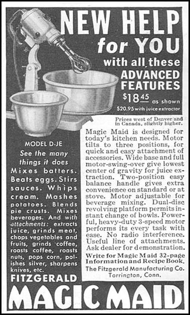MAGIC MAID MIXER GOOD HOUSEKEEPING 06/01/1935 p. 184