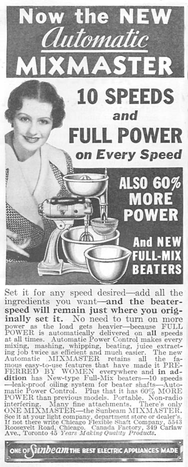 SUNBEAM MIXMASTER AUTOMATIC MIXER GOOD HOUSEKEEPING 06/01/1935 p. 199