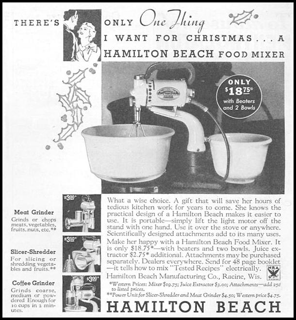 HAMILTON BEACH FOOD MIXER GOOD HOUSEKEEPING 12/01/1933 p. 179