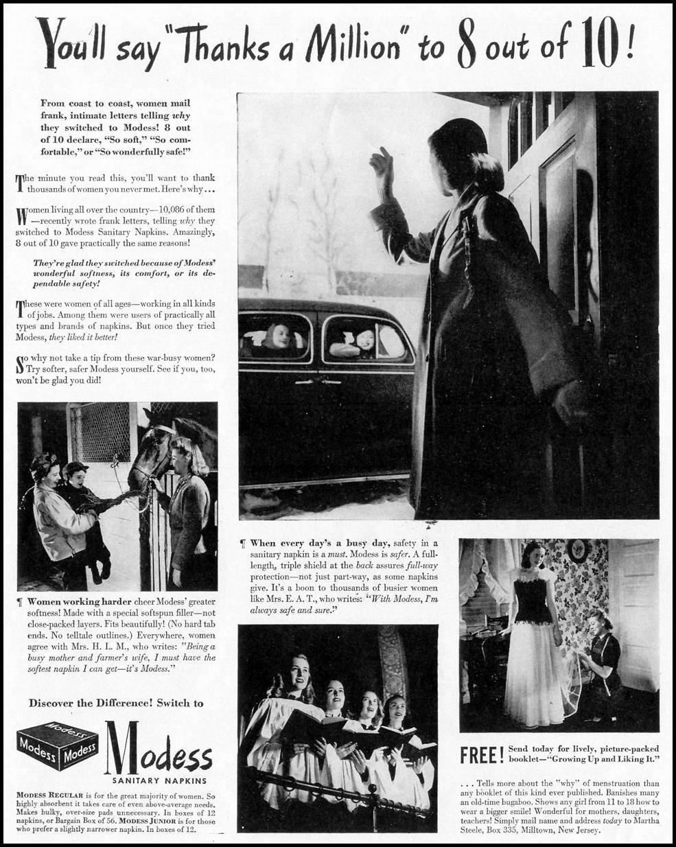 MODESS LIFE 02/28/1944 p. 89