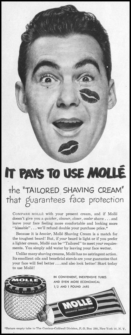 MOLLE BRUSHLESS SHAVING CREAM LIFE 04/17/1950 p. 32