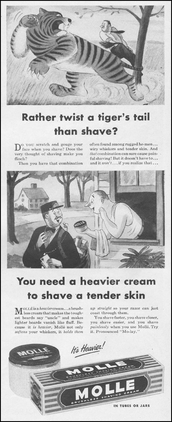 MOLLE BRUSHLESS SHAVING CREAM LIFE 11/25/1946 p. 27