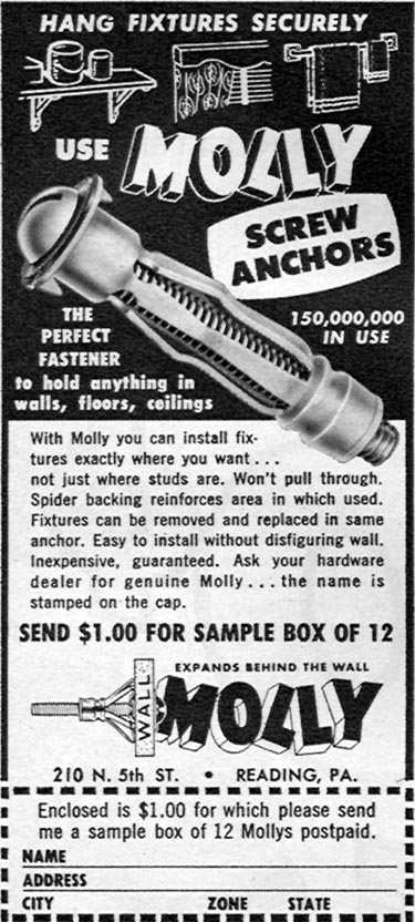 MOLLY SCREW ANCHORS FAMILY CIRCLE 11/01/1957 p. 58