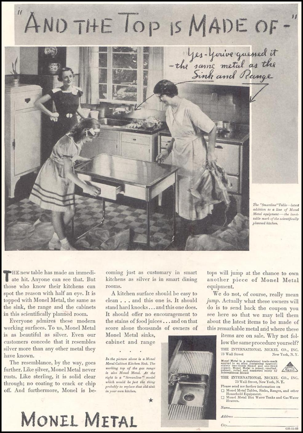 MONEL METAL GOOD HOUSEKEEPING 11/01/1933 p. 141