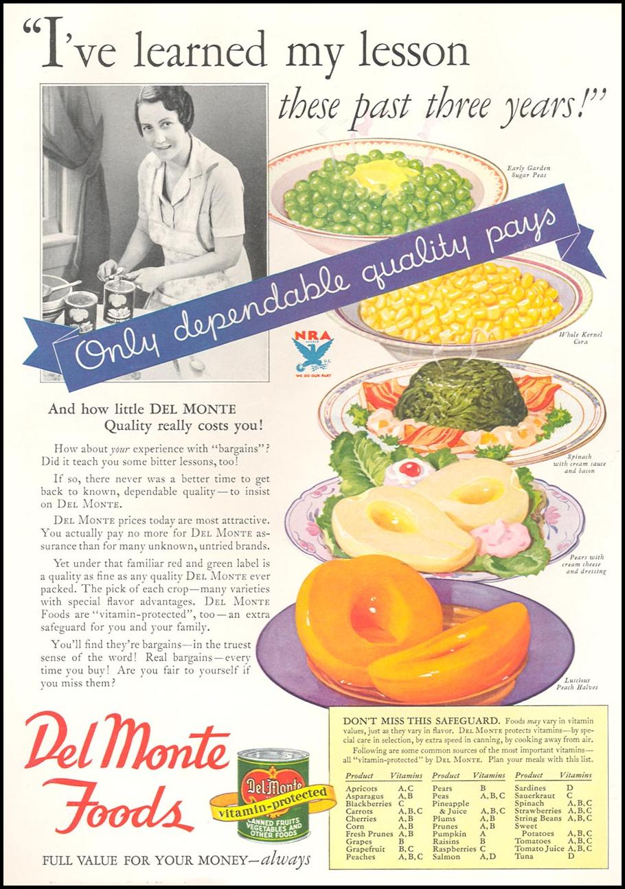 DEL MONTE FOODS GOOD HOUSEKEEPING 12/01/1933 p. 158