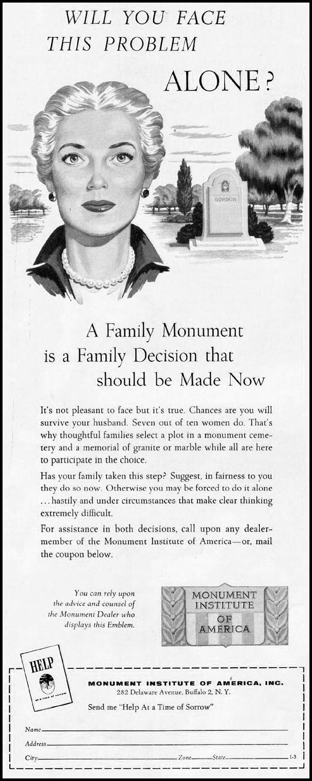 FAMILY MONUMENTS LADIES' HOME JOURNAL 03/01/1954 p. 148