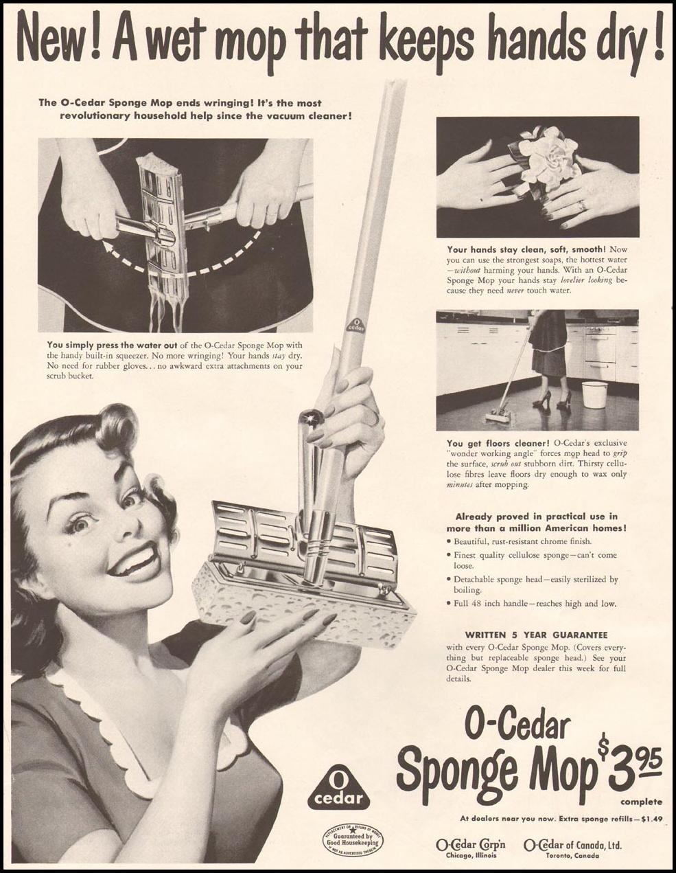 O-CEDAR SPONGE MOP LADIES' HOME JOURNAL 11/01/1950 p. 199