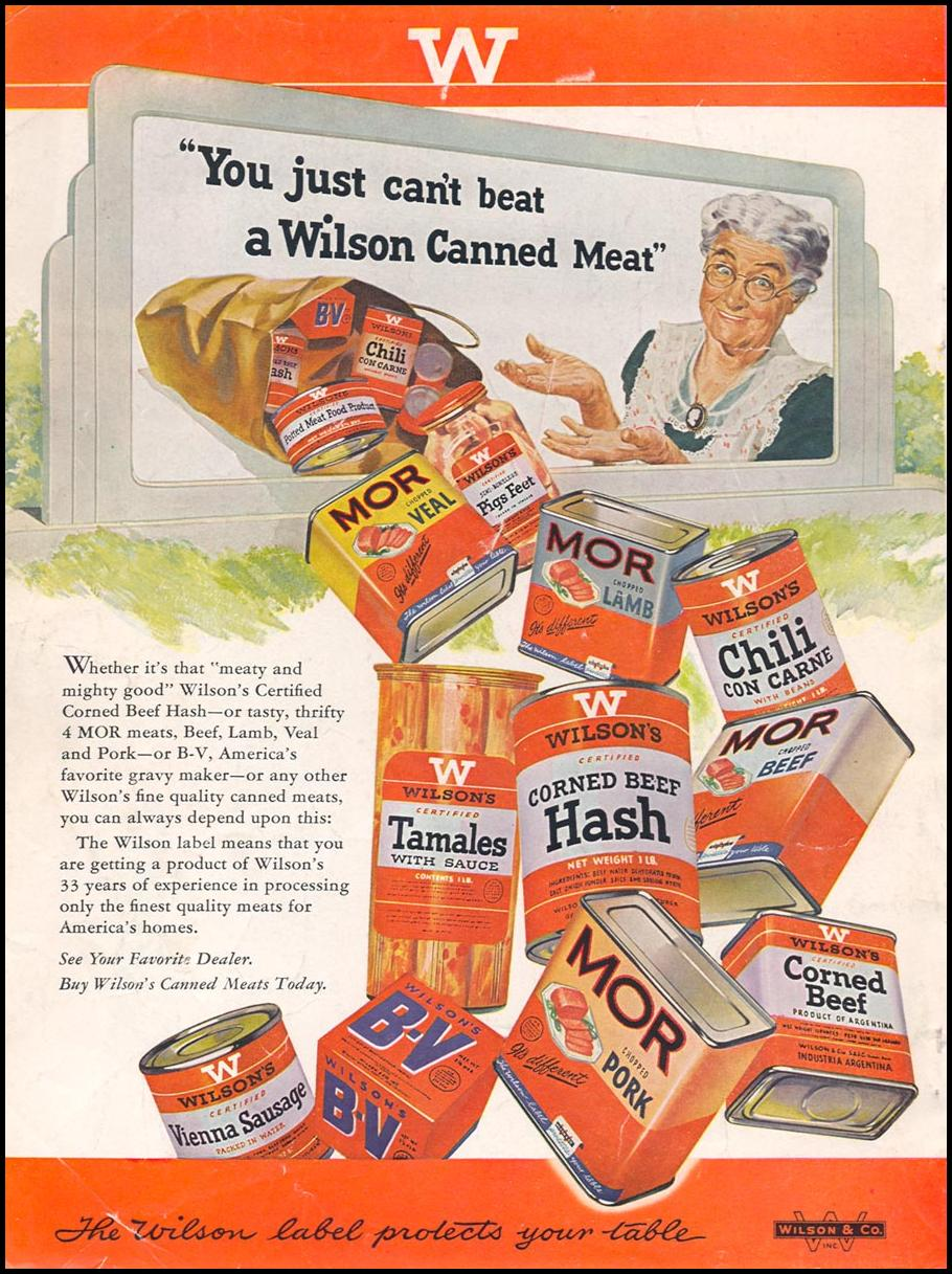 WILSON'S CANNED MEATS WOMAN'S DAY 08/01/1949 BACK COVER