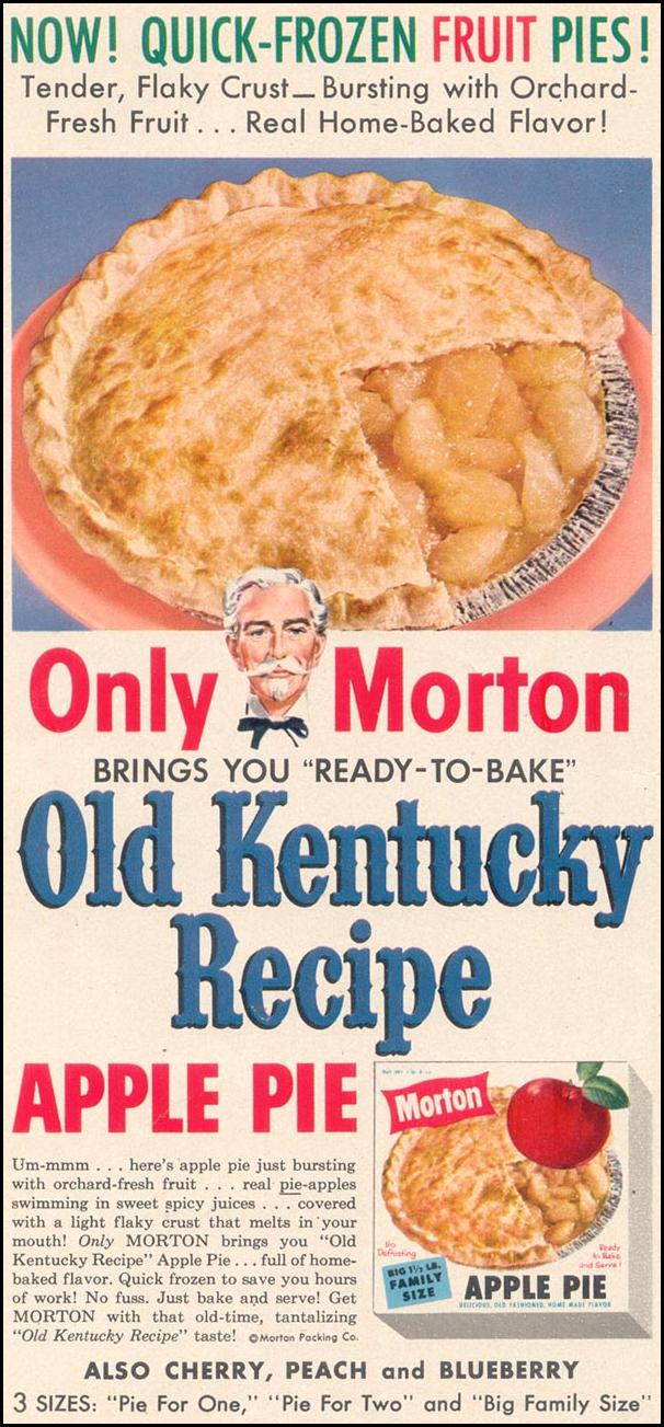 MORTON QUICK-FROZEN FRUIT PIES WOMAN'S DAY 07/01/1955 p. 18