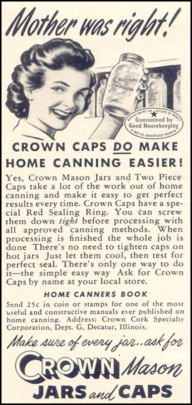 CROWN MASON JARS AND CAPS GOOD HOUSEKEEPING 07/01/1949 p. 202