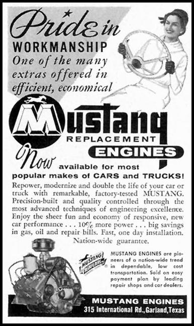 MUSTANG REPLACEMENT ENGINES SATURDAY EVENING POST 05/02/1959 p. 104