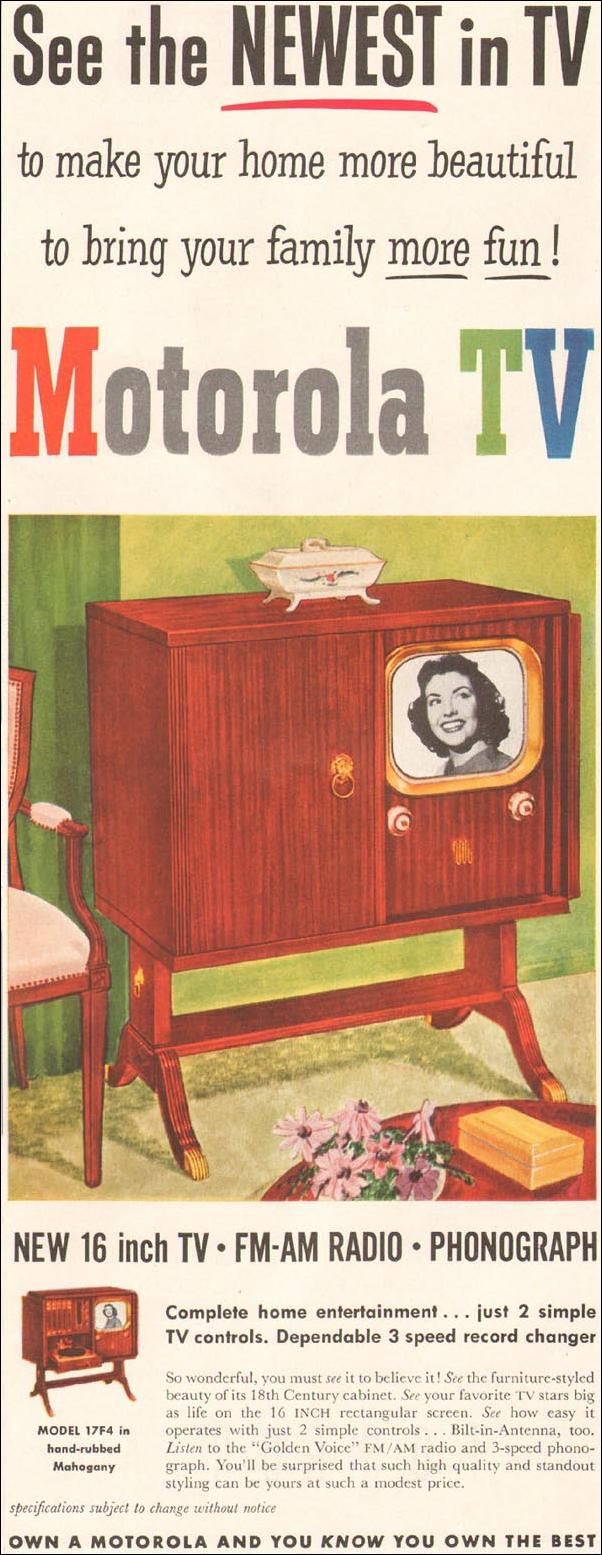 MOTOROLA TELEVISIONS LADIES' HOME JOURNAL 11/01/1950 p. 101