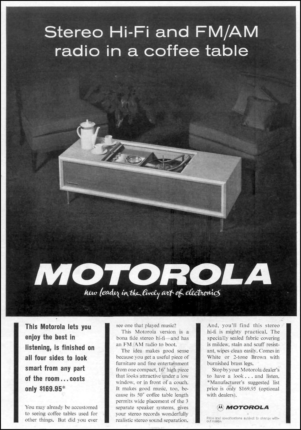 MOTOROLA STERO / RADIO COFFEE TABLE TIME 02/01/1963 p. 1