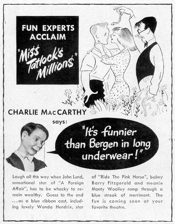 MISS TATLOCK'S MILLIONS LIFE 11/15/1948 p. 122