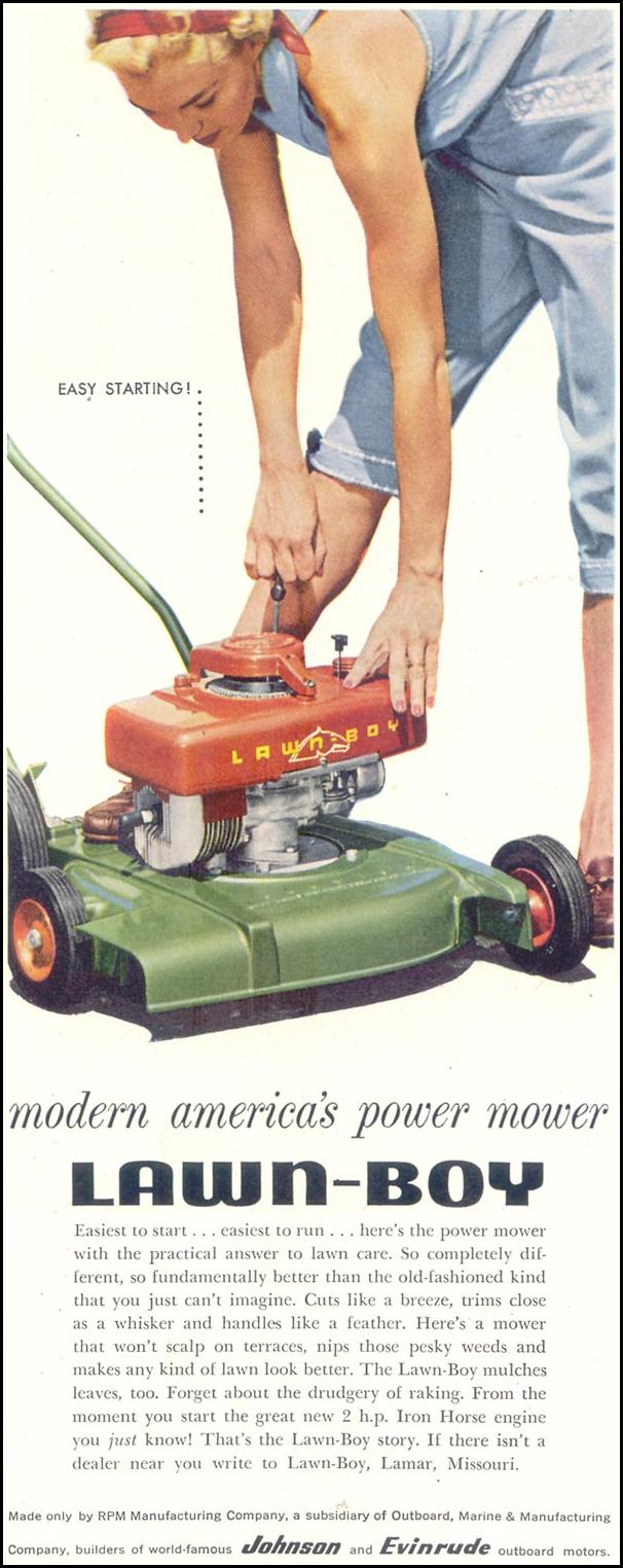 LAWN-BOY POWER LAWN MOWER SATURDAY EVENING POST 06/04/1955 p. 117