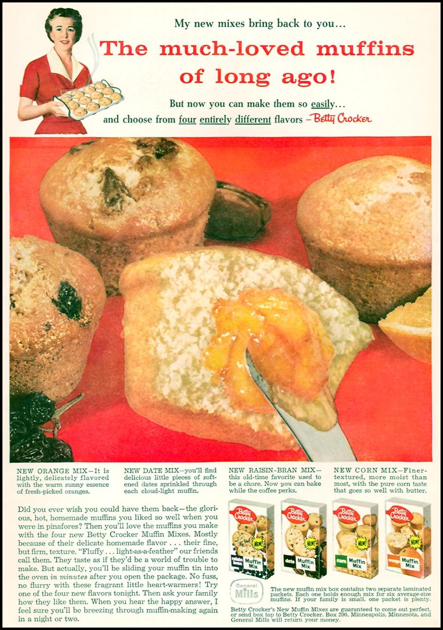 BETTY CROCKER MUFFIN MIXES FAMILY CIRCLE 11/01/1957
