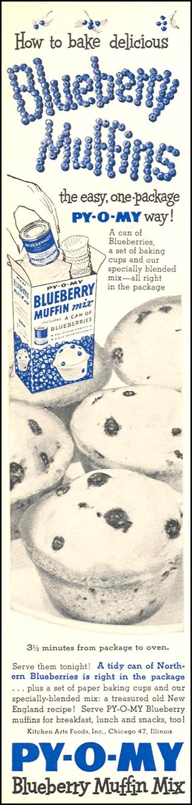 PY-O-MY BLUEBERRY MUFFIN MIX WOMAN'S DAY 02/01/1954 p. 134