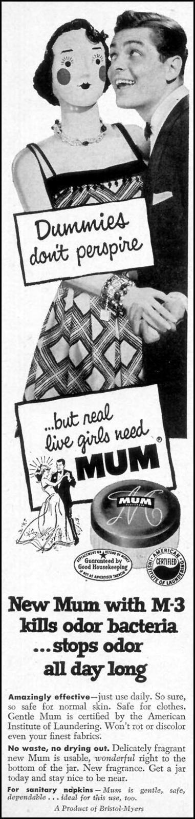 MUM DEODORANT WOMAN'S DAY 03/01/1954 p. 122