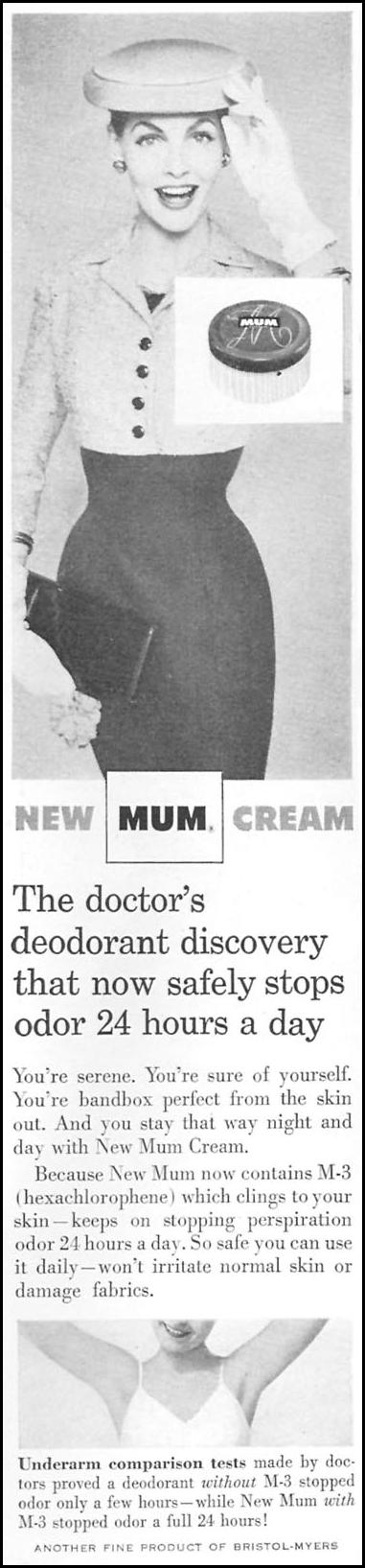 NEW MUM CREAM DEODORANT WOMAN'S DAY 04/01/1956 p. 96