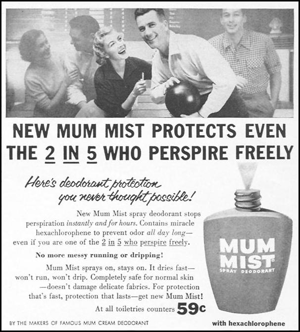 MUM MIST SPRAY DEODORANT WOMAN'S DAY 09/01/1955 p. 127