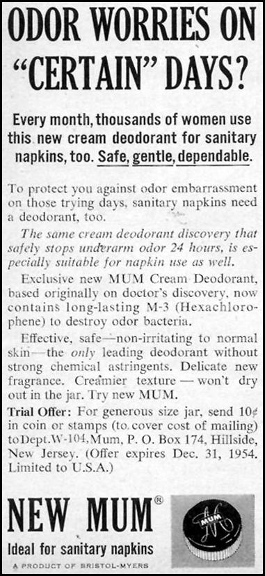 MUM DEODORANT WOMAN'S DAY 10/01/1954 p. 156