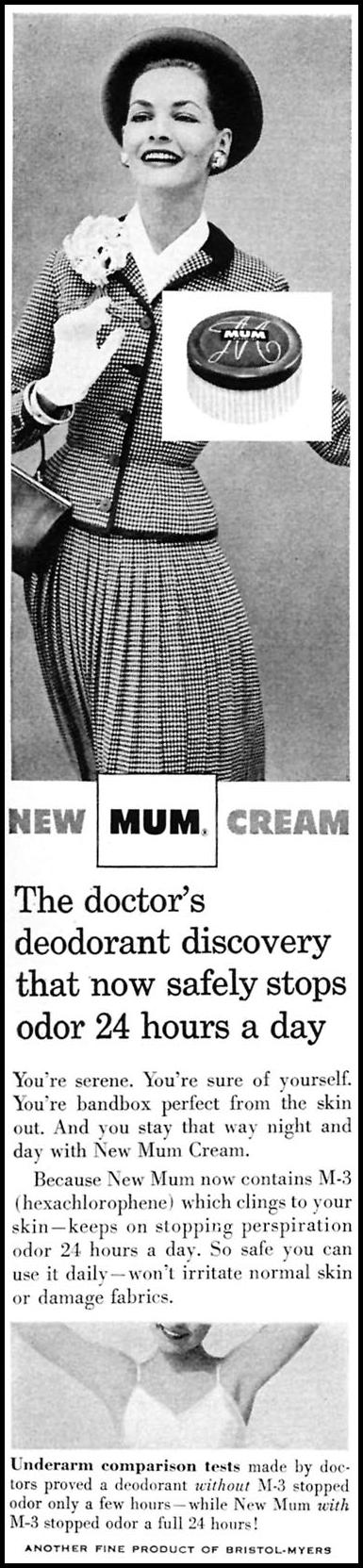 MUM DEODORANT CREAM WOMAN'S DAY 10/01/1956 p. 98