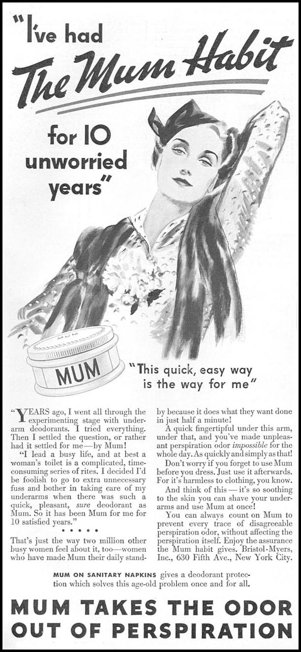 MUM DEODORANT GOOD HOUSEKEEPING 04/01/1936 p. 104