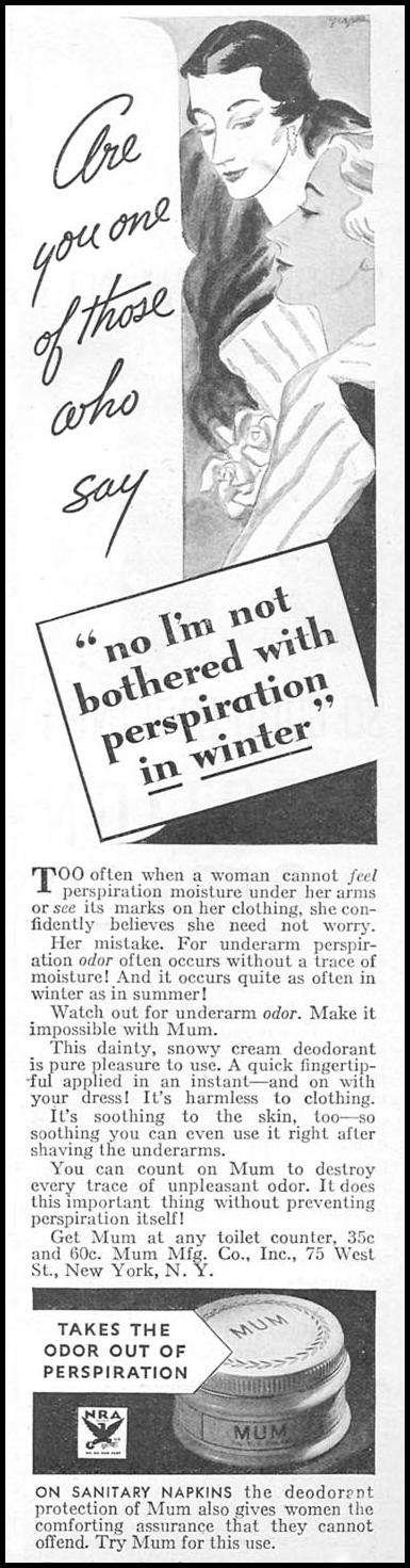 MUM DEODORANT GOOD HOUSEKEEPING 12/01/1933 p. 103
