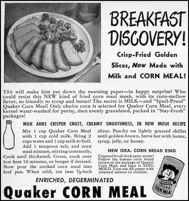 QUAKER CORN MEAL WOMAN'S DAY 11/01/1948 p. 116