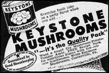 KEYSTONE MUSHROOMS GOOD HOUSEKEEPING 05/01/1957 p. 271