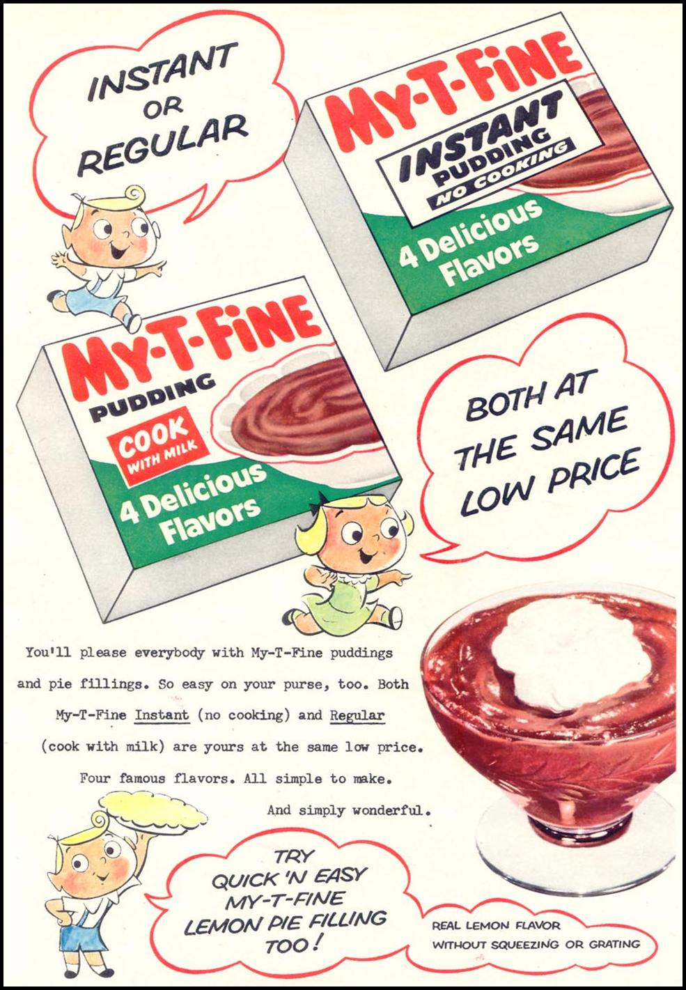 MY-T-FINE INSTANT PUDDING WOMAN'S DAY 11/01/1955 p. 65