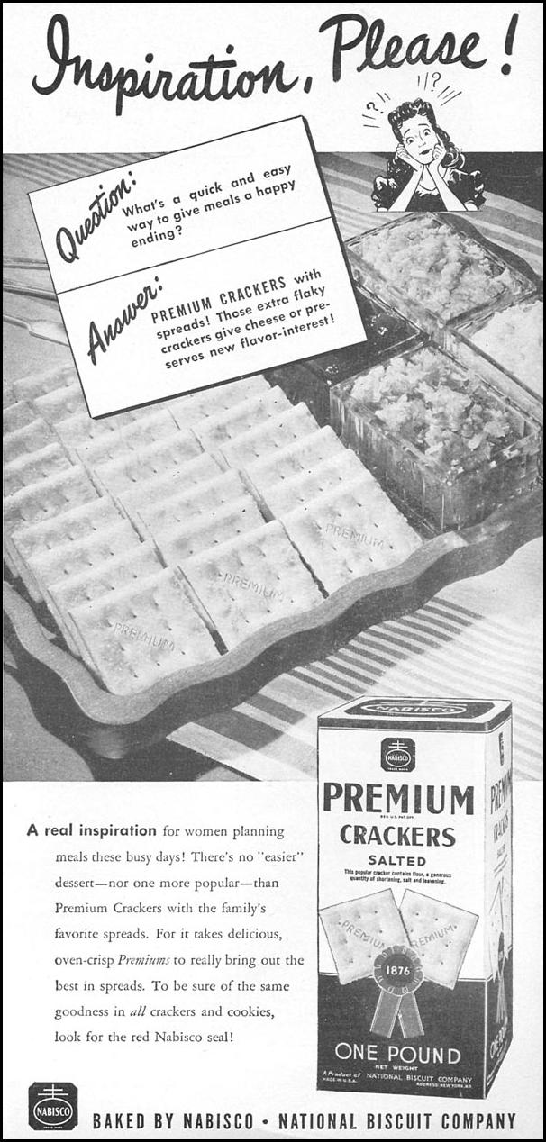 PREMIUM SALTINES WOMAN'S DAY 04/01/1943 p. 50