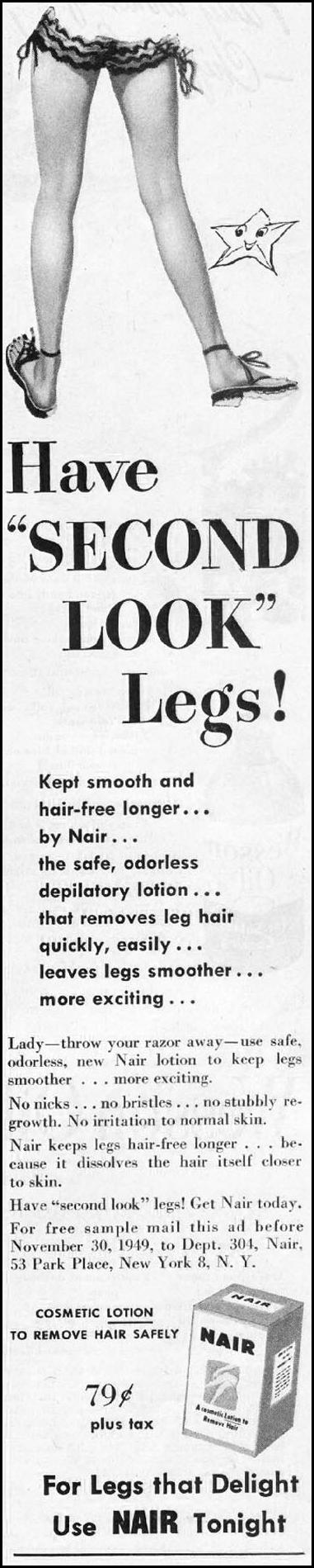 NAIR HAIR REMOVER LADIES' HOME JOURNAL 07/01/1949 p. 83