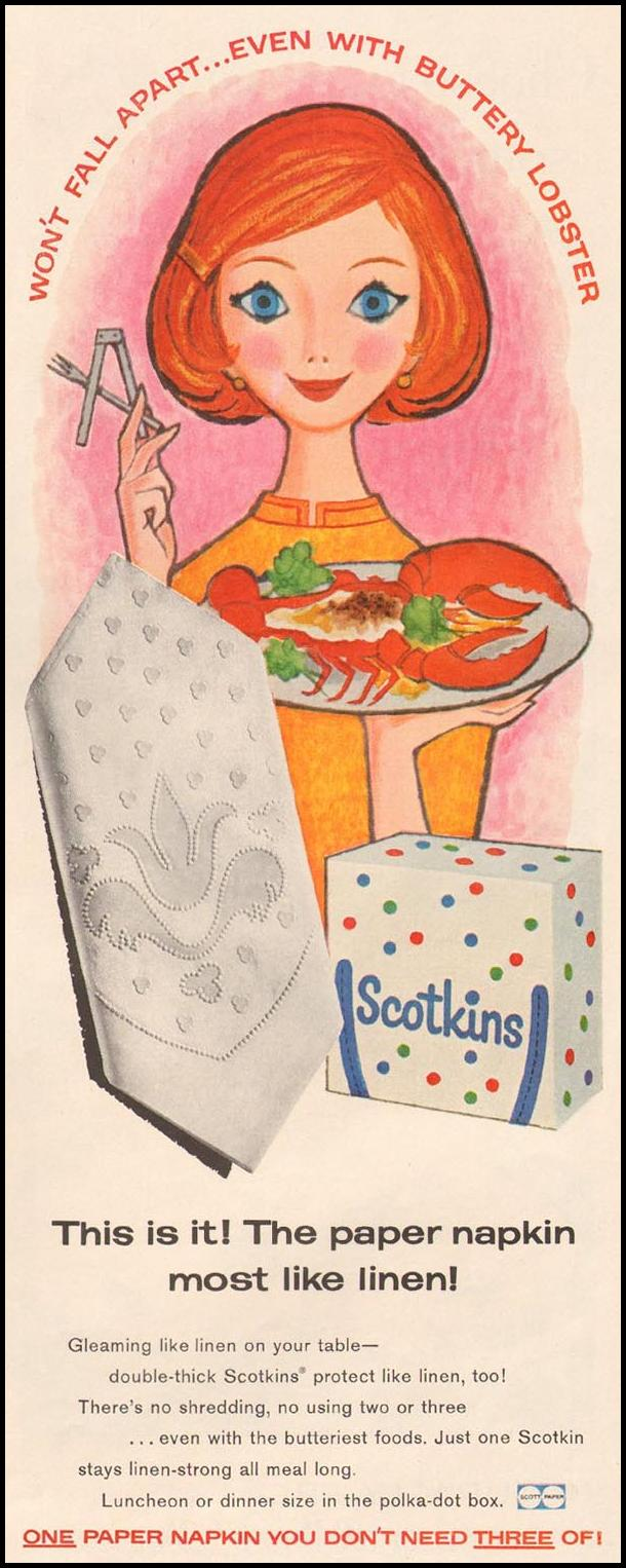 SCOTKINS PAPER NAPKINS LIFE 10/05/1959 p. 117