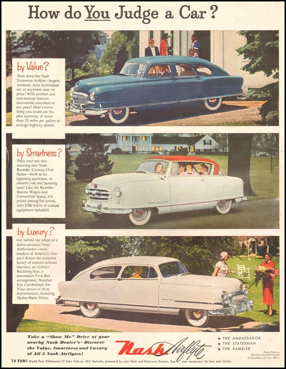 NASH AUTOMOBILES LIFE 10/01/1951 INSIDE FRONT