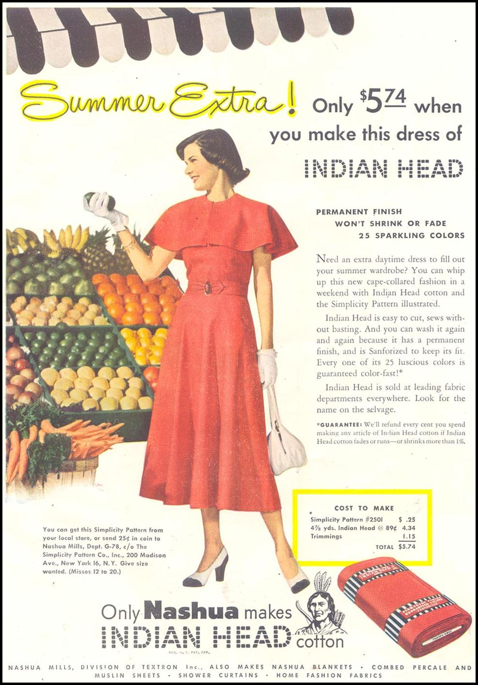 NASHUA INDIAN HEAD COTTON GOOD HOUSEKEEPING 07/01/1948