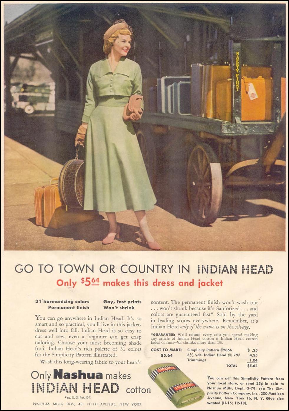 NASHUA INDIAN HEAD COTTON GOOD HOUSEKEEPING 07/01/1949