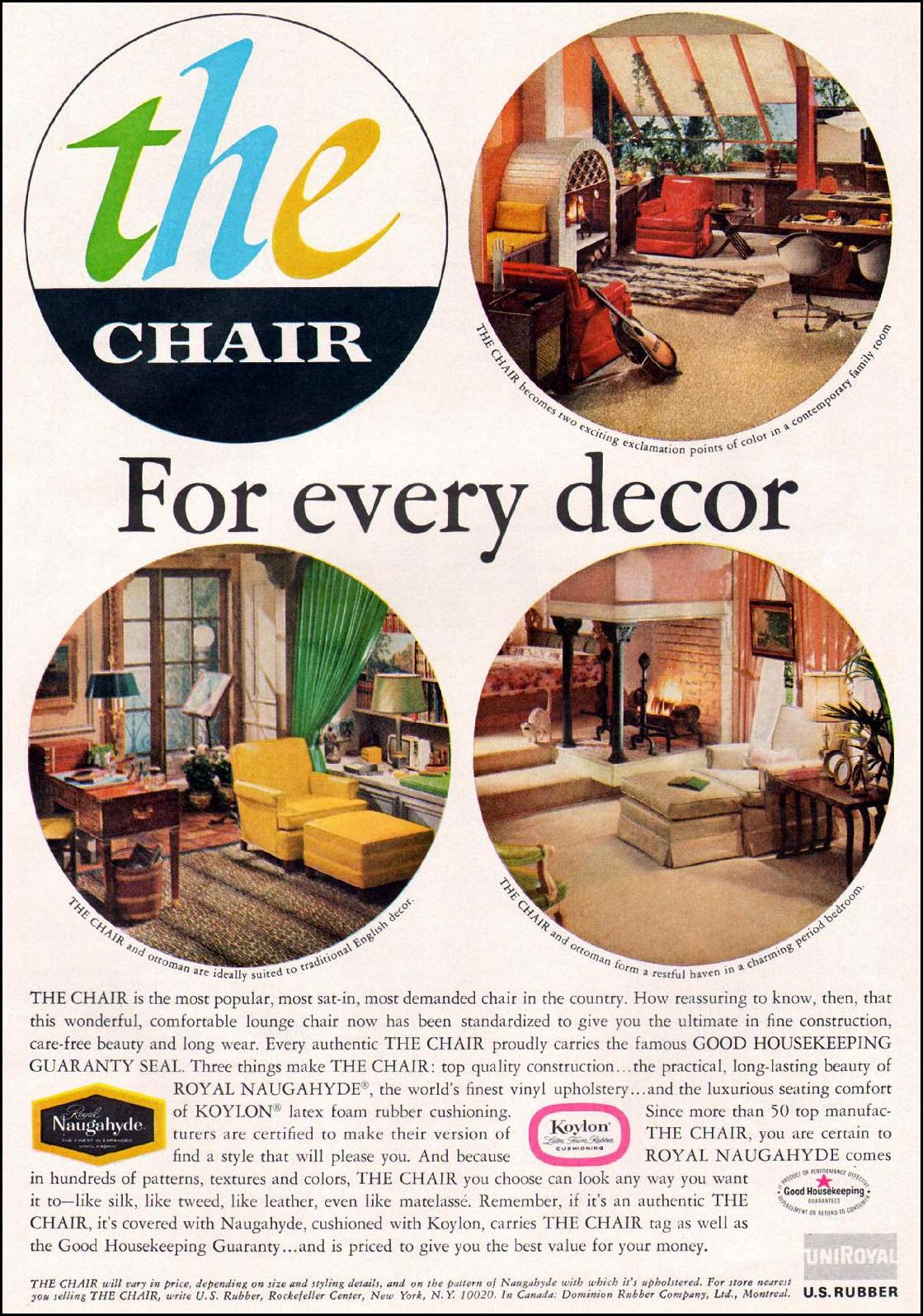ROYAL NAUGAHYDE VINYL UPHOLSTERY GOOD HOUSEKEEPING 10/01/1965 p. 235