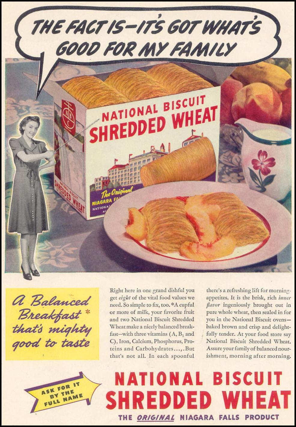 NATIONAL BISCUIT SHREDDED WHEAT WOMAN'S DAY 07/01/1940