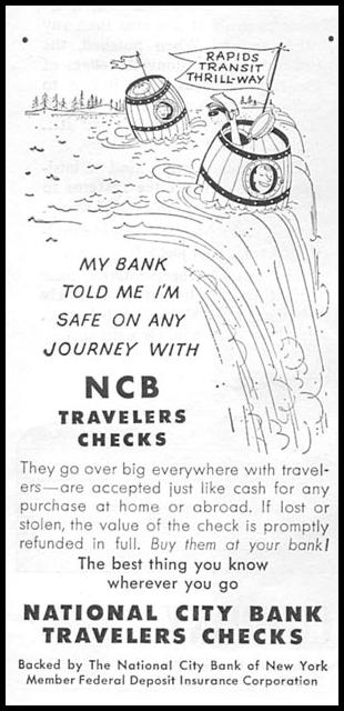 NCB TRAVELERS CHECKS NEWSWEEK 08/20/1951 p. 72