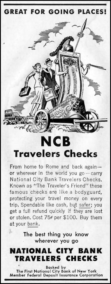 NCB TRAVELERS CHECKS SATURDAY EVENING POST 09/03/1955 p. 76