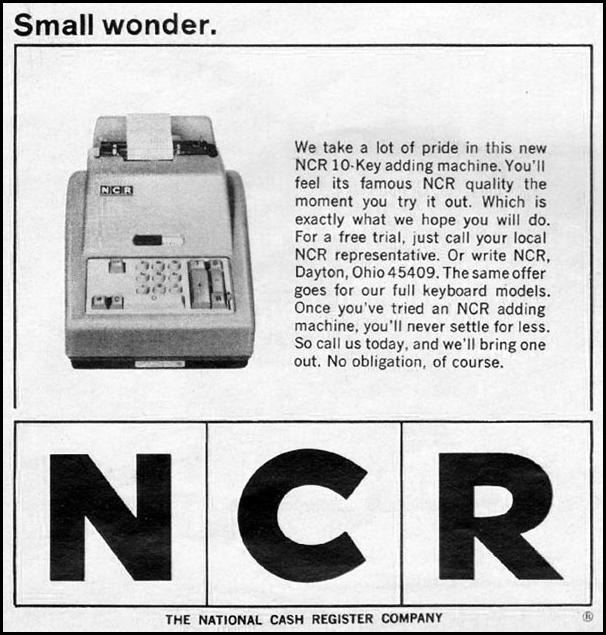 NCR 10-KEY ADDING MACHINE NEWSWEEK 10/12/1964 p. 2