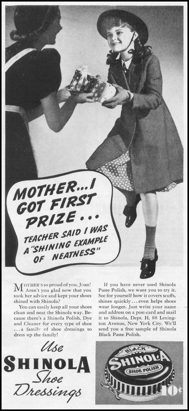 SHINOLA SHOE POLISH WOMAN'S DAY 05/01/1939 p. 43