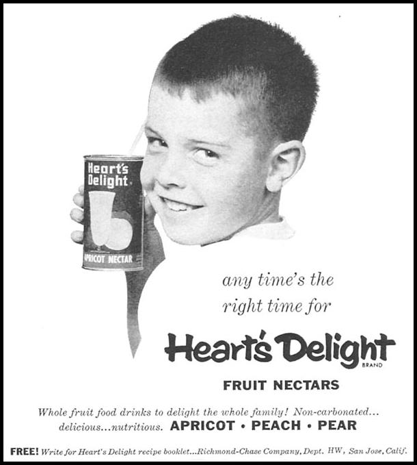 HEART'S DELIGHT FRUIT NECTARS WOMAN'S DAY 04/01/1956 p. 115