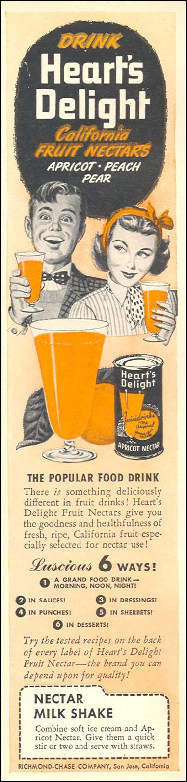 HEART'S DELIGHT FRUIT NECTARS WOMAN'S DAY 08/01/1949 p. 3