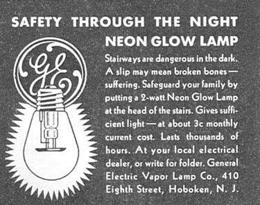 GENERAL ELECTRIC NEON GLOW LAMP GOOD HOUSEKEEPING 01/01/1932 p. 152