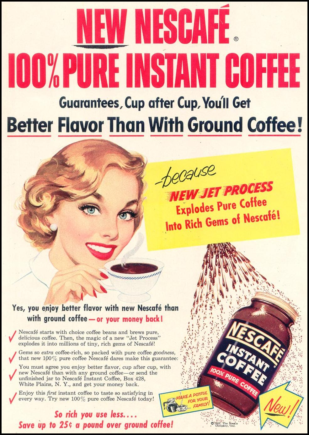 NESCAFE INSTANT COFFEE WOMAN'S DAY 03/01/1954 p. 27